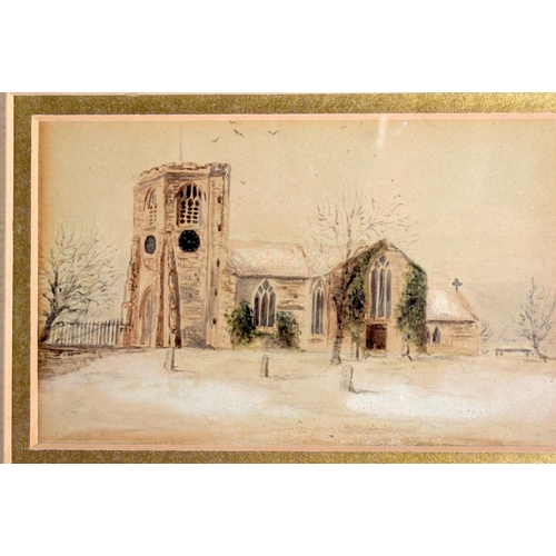 719 - AN UNUSUAL MILITARY WATERCOLOUR together with a watercolour of a church. (2)...