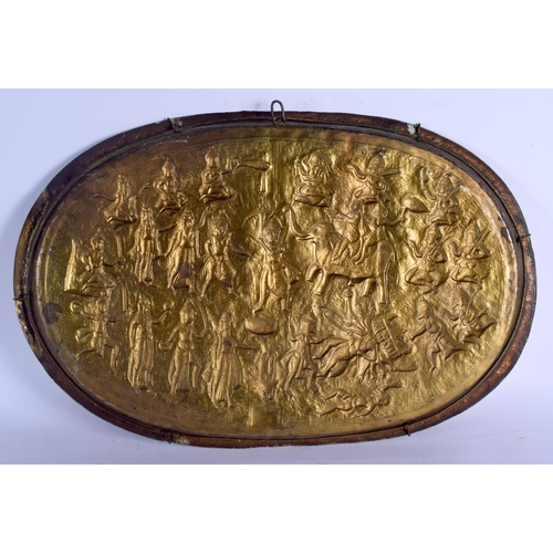 720 - THREE LARGE 19TH CENTURY MIDDLE EASTERN INDIAN BRASS ISLAMIC TRAYS. Largest 50 cm diameter. (3)...