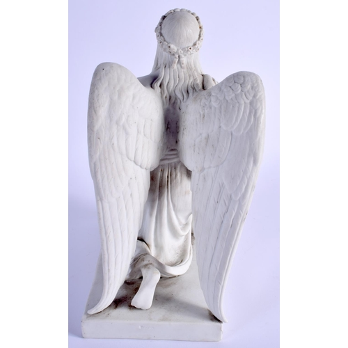 73 - A 19TH CENTURY EUROPEAN ENERET PARIAN WARE FIGURE OF A KNEELING ANGEL modelled seated holding aloft ...