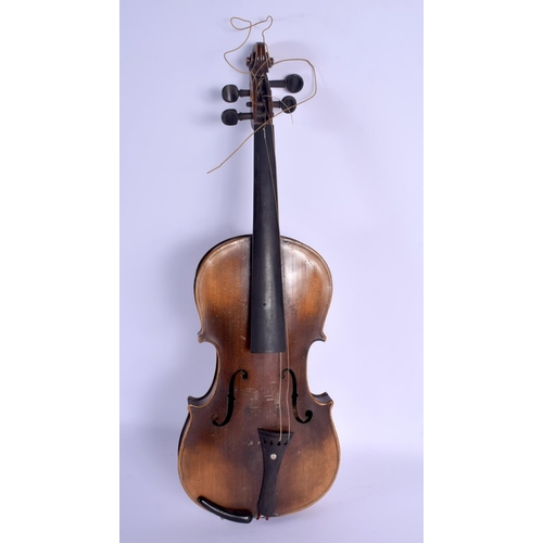 743 - A CASED TWO PIECE BACK VIOLIN with bow. 58 cm long. (2)...