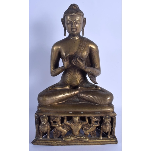 744 - A LARGE 19TH CENTURY INDIAN BRONZE FIGURE OF A SEATED BUDDHA modelled with hands clasped. 38 cm x 15...
