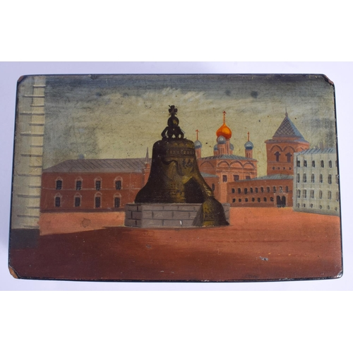 750 - AN ANTIQUE RUSSIAN PAINTED LACQUER BOX painted with a view of a landmark. 15 cm x 11 cm....