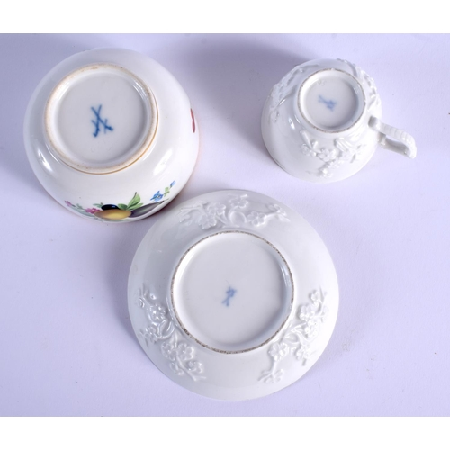 76 - AN 18TH CENTURY MEISSEN BLANC DE CHINE CUP AND SAUCER together with a Marcolini period sugar bowl. L...