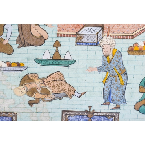 762 - A 19TH CENTURY MIDDLE EASTERN ISLAMIC PAINTED WATERCOLOUR depicting a fallen figure before a royal m...