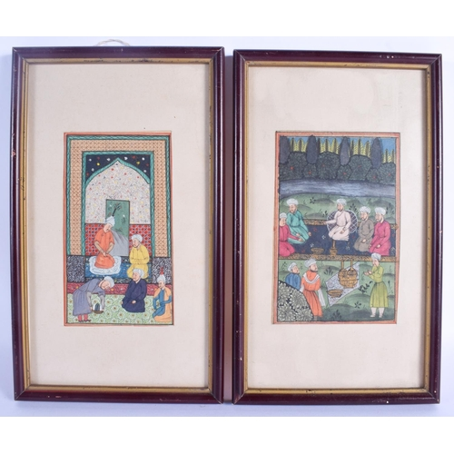 766 - A SMALL PAIR OF 19TH CENTURY MIDDLE EASTERN ISLAMIC PAINTED PANELS depicting figures within temples....