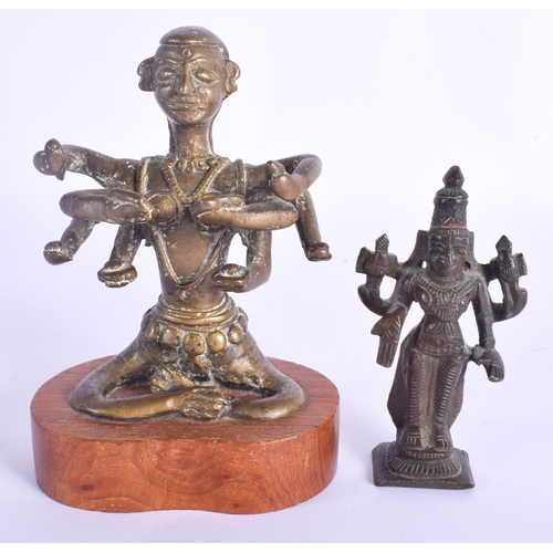 779 - TWO 19TH CENTURY INDIAN HINDU BRONZE BUDDHIST FIGURES. Largest 13 cm high. (2)...