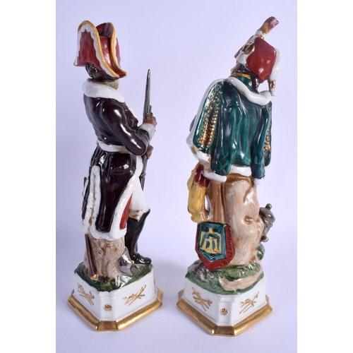 78 - A LARGE PAIR OF 1950S CONTINENTAL PORCELAIN FIGURES OF SOLDIERS Naples style. 32 cm high....