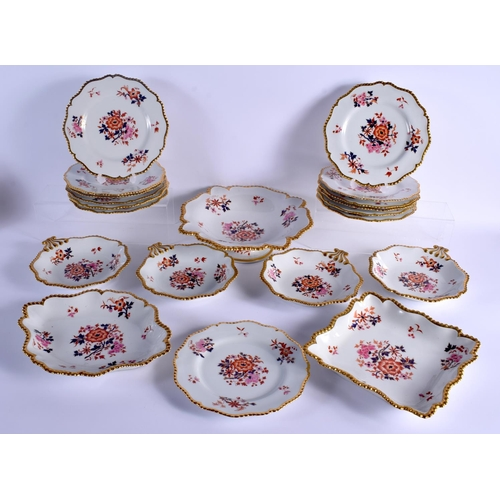 79 - 19TH C. WORCESTER FLIGHT BARR AND BARR DESSERT SERVICE painted with oriental style flowers under a g...