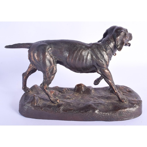 792 - AN EARLY 20TH CENTURY EUROPEAN BRONZE ALLOY FIGURE OF A ROAMING HOUND modelled upon a naturalistic b...