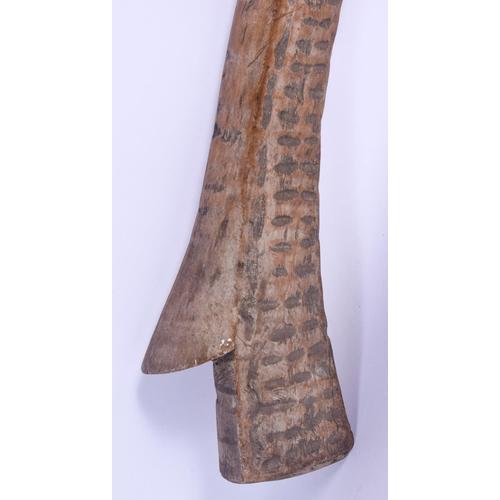 800 - A 19TH CENTURY FIJIAN TRIBAL CARVED WOOD GUN STOCK TRIBAL CLUB. 96 cm long....