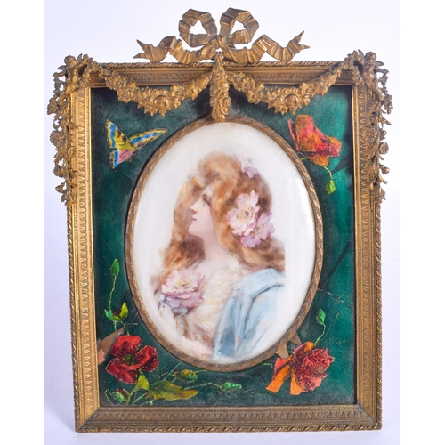 827 - A 19TH CENTURY FRENCH ART NOUVEAU ENAMELLED PORTRAIT MINIATURE FRAME. 24 cm x 16 cm....