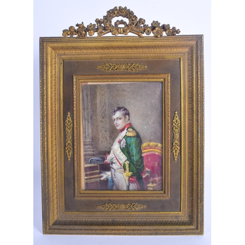828 - A LARGE 19TH CENTURY FRENCH PAINTED IVORY PORTRAIT MINIATURE within a gilt metal frame. 28 cm x 20 c...