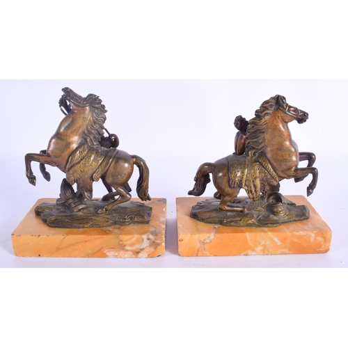 834 - AN UNUSUAL PAIR OF 19TH CENTURY GRAND TOUR BRONZE MARLEY HORSES upon sienna marble bases. 13 cm x 15...