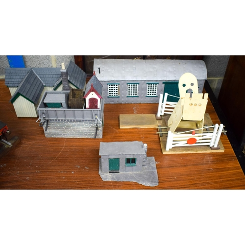 849 - A COLLECTION OF VINTAGE TRAIN RELATED BUILDINGS etc. Largest 57 cm x 22 cm. (5)...