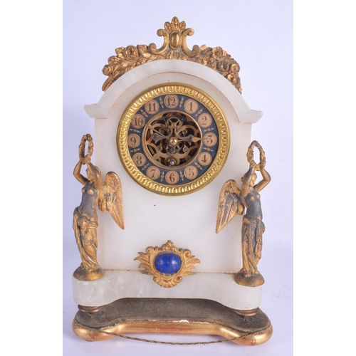 857 - A LATE 19TH CENTURY FRENCH ALABASTER AND GILT METAL CLOCK formed with figural supports. 30 cm x 18 c...