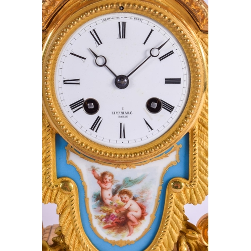 867 - A 19TH CENTURY FRENCH BRONZE AND SEVRES PORCELAIN MANTEL CLOCK retailed by Henry Marc A Paris, paint...