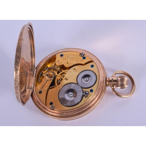 871 - A 9CT GOLD FULL HUNTER WALTHAM POCKET WATCH. 92 grams overall. 4.5 cm wide....