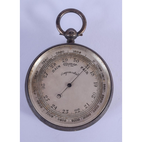 872 - AN ANTIQUE SILVER BAROMETER. 5 cm diameter....