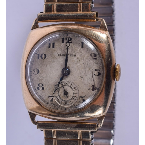 880 - A 9CT GOLD ELKINGTON WATCH with yellow metal strap. 2.25 cm square....