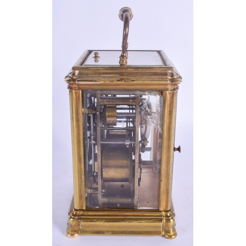882 - A 19TH CENTURY FRENCH GRAND SONNERIE REPEATING CARRIAGE CLOCK with white enamel dial. 18 cm high inc...