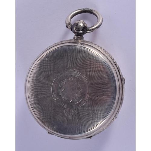 885 - AN ANTIQUE SILVER POCKET WATCH. 5.5 cm diameter....
