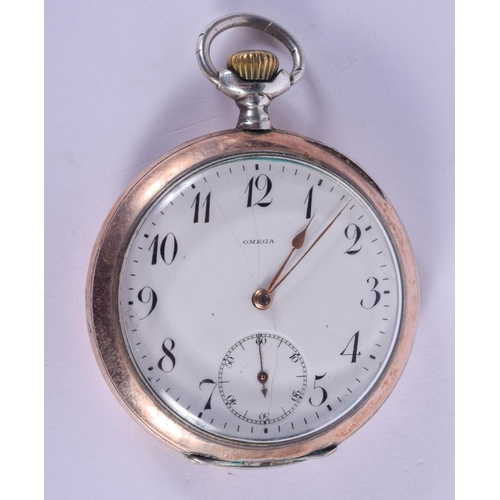 890 - AN OMEGA SILVER POCKET WATCH. 5 cm diameter....
