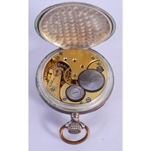 893 - AN OMEGA SILVER POCKET WATCH. 5 cm diameter....