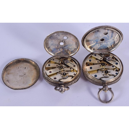 896 - TWO ANTIQUE SILVER FOB WATCHES. 2.5 cm wide. (2)...