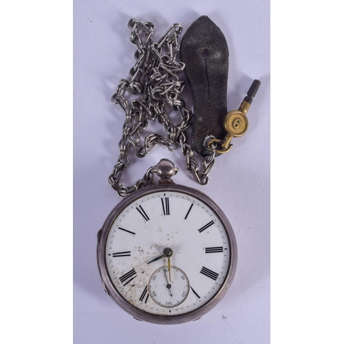 897 - A LARGE ANTIQUE SILVER POCKET WATCH. 5 cm diameter....