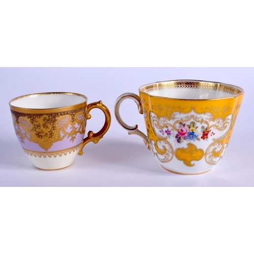 90 - ROYAL CROWN DERBY HEAVILY GILDED SMALL CUP AND SAUCER with yellow and lavender ground date code reta...