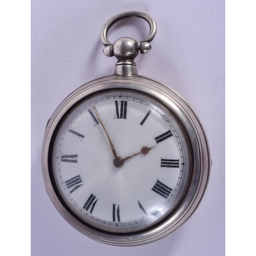 903 - AN ANTIQUE SILVER POCKET WATCH. 5.5 cm diameter....
