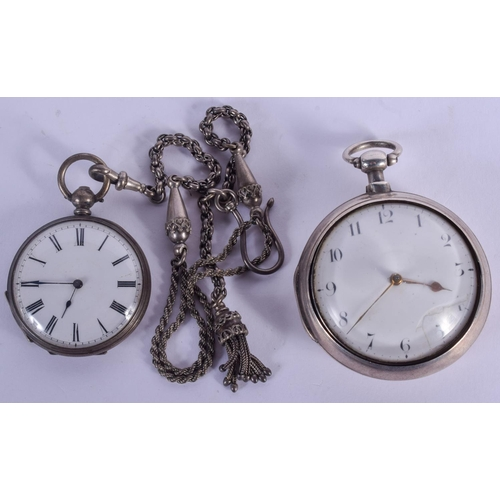 905 - TWO ANTIQUE SILVER POCKET WATCHES. Largest 5 cm diameter. (2)...