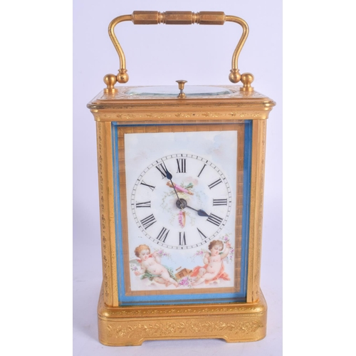 909 - A GOOD 19TH CENTURY FRENCH SEVRES PORCELAIN REPEATING CARRIAGE CLOCK painted with putti within lands...