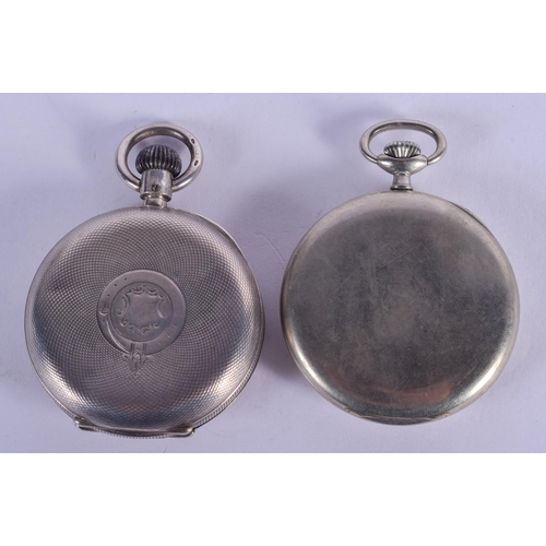 911 - TWO ANTIQUE SILVER POCKET WATCHES. Largest 5 cm diameter. (2)...
