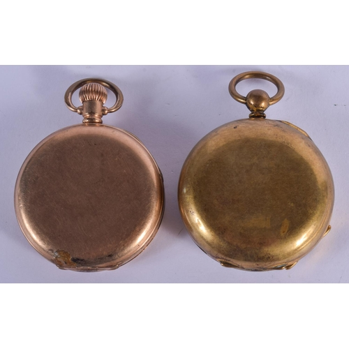914 - TWO VINTAGE YELLOW METAL POCKET WATCHES. Largest 4.75 cm diameter. (2)...