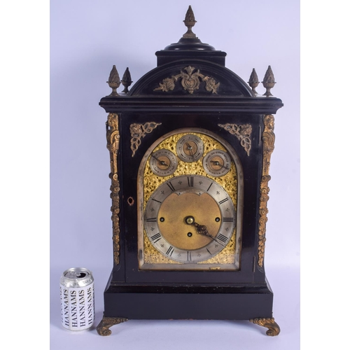 916 - A LARGE VICTORIAN EBONISED BRACKET CLOCK by Joseph Penlington of Liverpool. 58 cm x 30 cm....