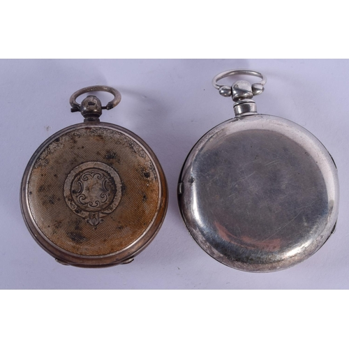 920 - TWO ANTIQUE SILVER POCKET WATCHES. 5 cm diameter. (2)...
