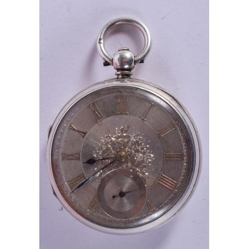 925 - AN ANTIQUE SILVER POCKET WATCH. 5.25 cm diameter....