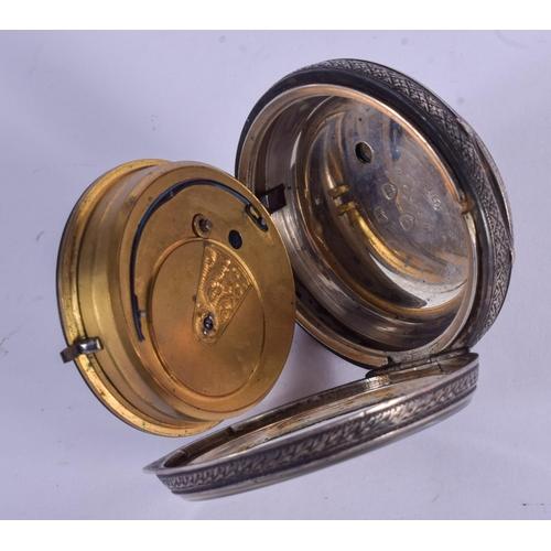 927 - AN ANTIQUE SILVER POCKET WATCH. 5.25 cm diameter....