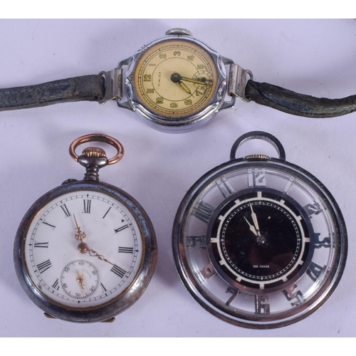 928 - AN UNUSUAL VINTAGE OPENWORK POCKET WATCH together with two others. (3)...