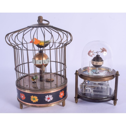 941 - TWO AUTOMATON CLOCKS in the form of an aquarium and bird cage. Largest 17 cm x 12 cm. (2)...