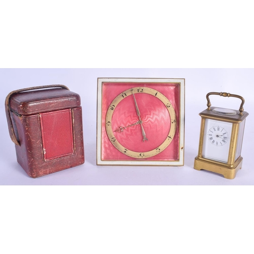 947 - AN ART DECO ENAMELLED STRUT CLOCK together with a miniature carriage clock. Largest 12 cm square. (2...