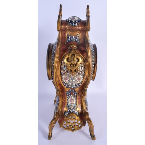 953 - A LARGE 19TH CENTURY FRENCH BRONZE AND CHAMPLEVE ENAMEL MANTEL CLOCK retailed by the Candon Brothers...