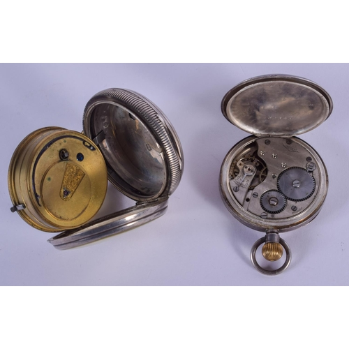 964 - TWO ANTIQUE SILVER POCKET WATCHES. Largest 5 cm diameter. (2)...