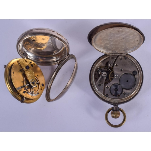 965 - TWO ANTIQUE SILVER POCKET WATCHES. Largest 5 cm diameter. (2)...