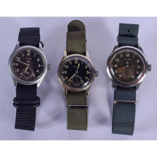 967 - A SET OF THREE MILITARY DIRTY DOZEN STEEL WRISTWATCHES including Record, Timor & Cyma. (3)...