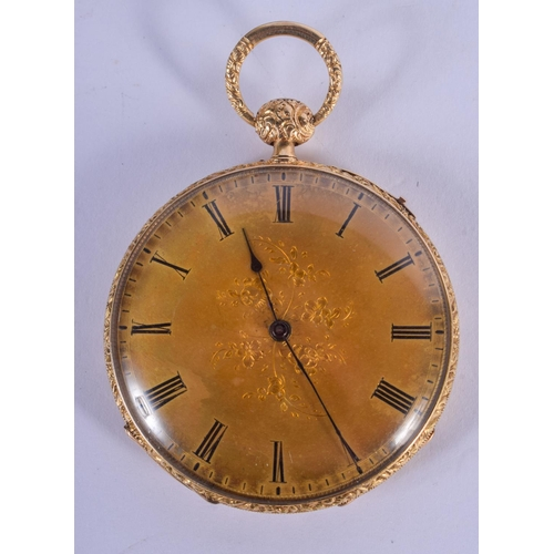 969 - AN ANTIQUE EUROPEAN REPEATING GOLD POCKET WATCH. 68 grams overall. 5 cm diameter....