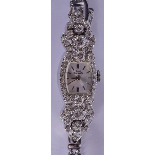 970 - A 14CT GOLD AND DIAMOND PAUL BREGUETTE LADIES COCKTAIL WRISTWATCH. 23 grams. Dial 2 cm x 1.5 cm....