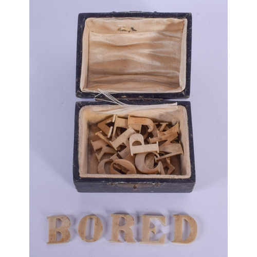 984 - ASSORTED ANTIQUE BONE ALPHABET LETTERS. (qty)...