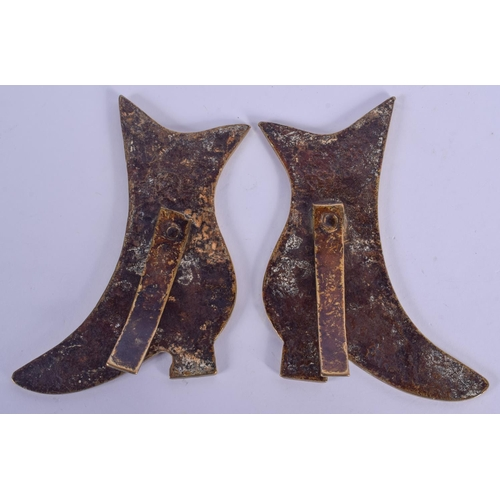 985 - A PAIR OF ANTIQUE FOLK ART BRASS SHOES. 11 cm x 5 cm....